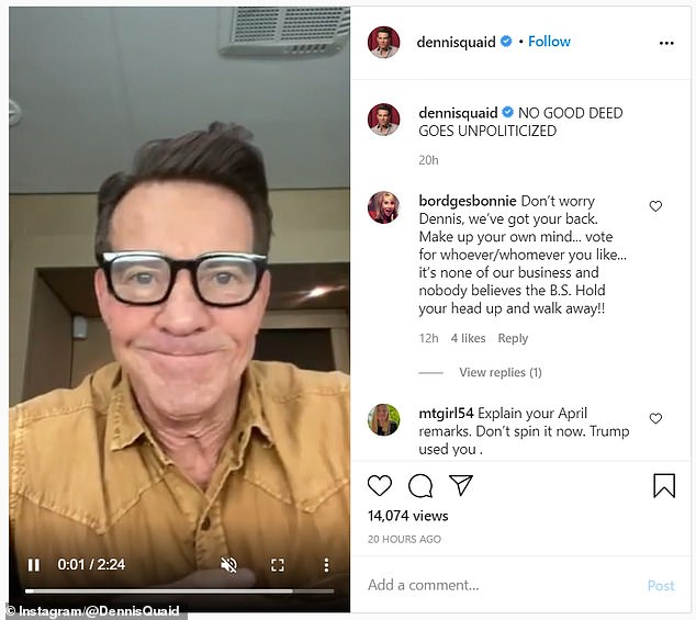 He shared a video on Instagram on Saturday clarifying he was not paid for the campaign adding the caption, 'no good deed goes unpoliticized'
