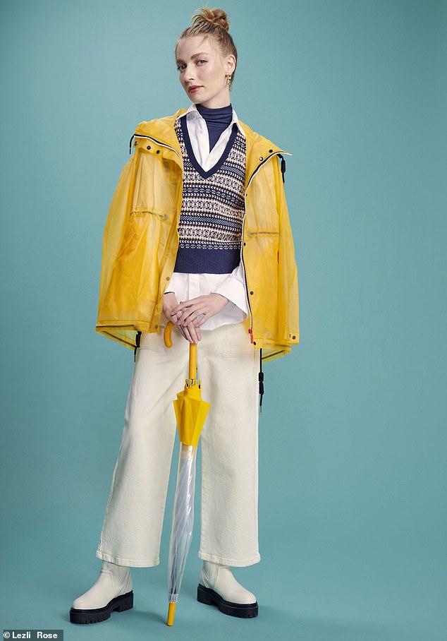 Mac, £135, and umbrella, £38, hunterboots.com; tank, £98, brora.co.uk; shirt, £59, cosstores.com; jeans, £41.99, gap. co.uk; Topshop boots as before