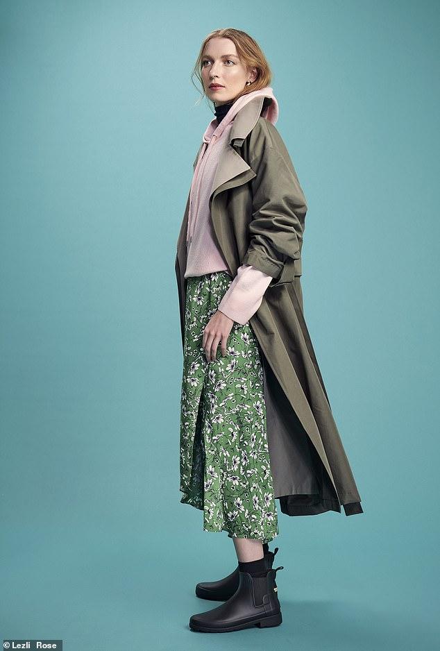 Coat, £75, asos.com; hoodie, £69, cosstores. com; dress, £206, me andem.com; boots, £90, hunterboots.com