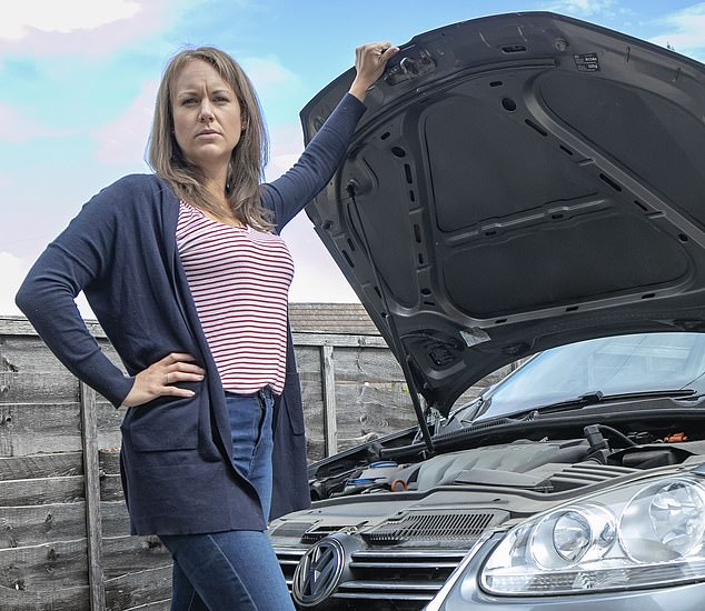 Robyn Thompson, (pictured) from Woking, Surrey, said she left her 'unusable' £3,300 VW Golf on her drive for three years as she sought a refund