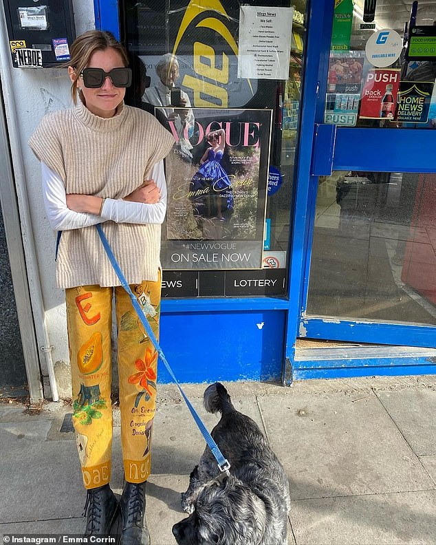 'So surreal!': Emma Corrin was starstruck by her own image when she spotted her glam Vogue covershoot image on display at a newsagents while out walking her dog