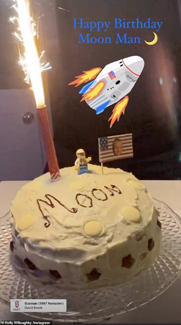 Tribute:She also took to her Instagram Story to reveal the cake with a candle lit to mimic a rocket and accompanied the snap with the David Bowie hit Starman, captioned: 'Happy Birthday Moon Man'