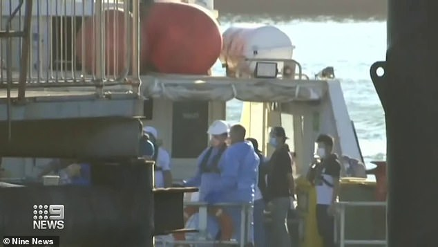 Twelve crew from thePatricia Oldendorff were transported to the mainland on the weekend