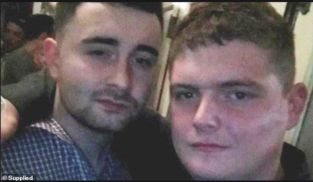 Two Irish tradesmen have been welcomed back to their home country by their families after they were acquitted of the murder of a homeless, Australian pensioner (pictured, Christopher McLaughlin and Nathan Kelly)