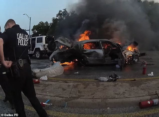 Another shot of the car shows just how serious the situation was as the fire quickly took hold