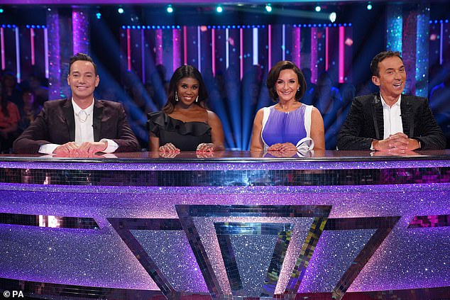 Changes: (L-R) Only three judges - Craig Revel Horwood, Motsi Mabuse and Shirley Ballas - will be in the studio, while Bruno Tonioli has said he will be 'involved remotely'
