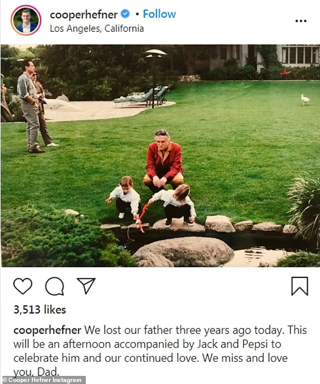 Memories:Hefner's youngest son, Cooper, from his second marriage to model Kimberly Conrad, also took to Instagram to share a heartfelt tribute
