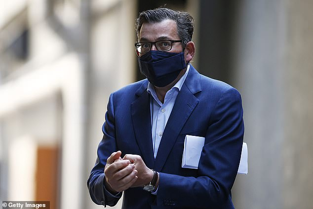 Daniel Andrews (pictured on Monday) was described as 'Victoria's Joe Biden' by Sam Newman