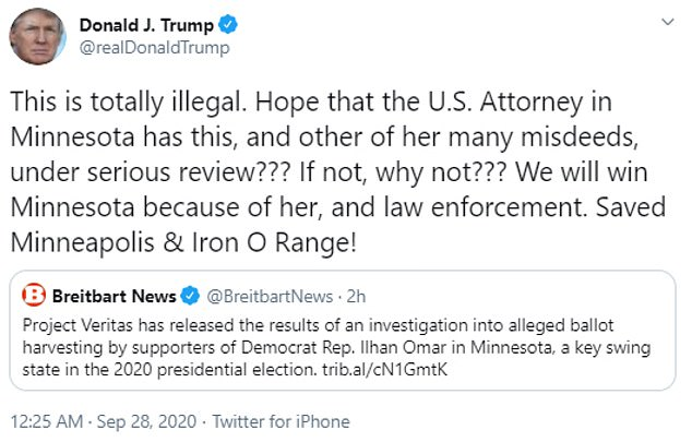 'This is totally illegal,' the president tweeted on Monday. 'Hope that the U.S. Attorney in Minnesota has this, and other of her many misdeeds, under serious review??? If not, why not???'