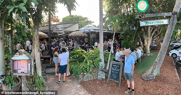 Get in quick:Restaurant walk-ins at Byron's most popular eateries are also virtually impossible, and bookings are now required in advance. Pictured: Byron Bay's Treehouse restaurant
