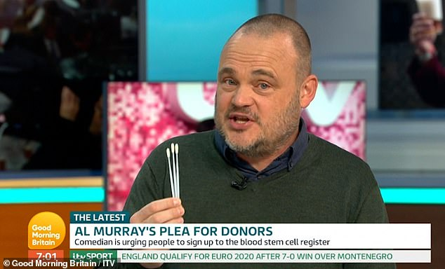 Tough:Explaining that Finley was having to endure a week of chemotheraphy every three weeks and needs to find a donor by Christmas , Murray said: 'It's the only cure. We need people to register and we need to find a match. I know there's someone out there'