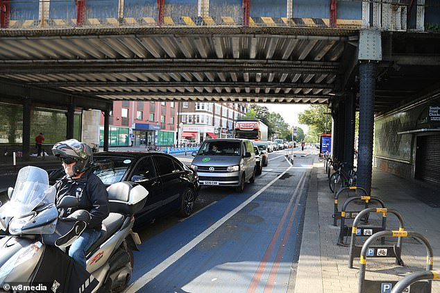 Empty cycle lanes cause queues of cars and vans at Balham in South London earlier this month