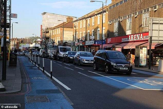An empty bicycle lane in Tooting, South London, during a morning rush hour earlier this month