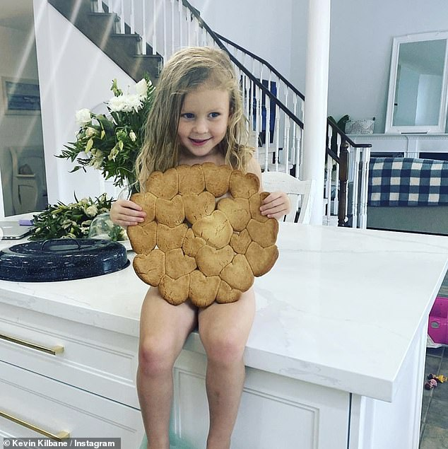 Uh oh: Gracie's cookies appeared to have bled into each other in the oven - but she didn't seem to mind too much