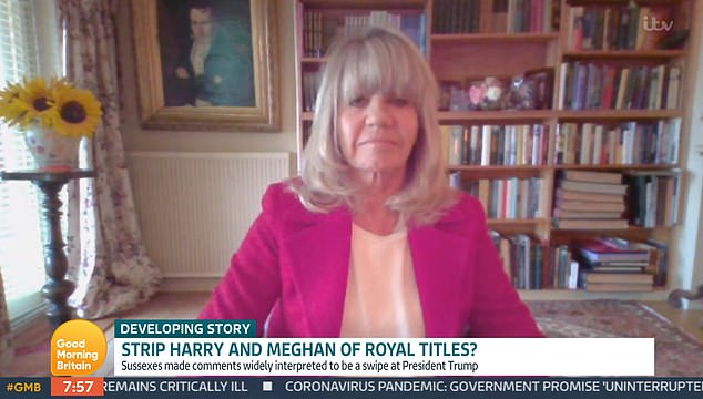 Royal commentator Ingrid Seward, 72, also appeared and argued that taking away their titles will achieve nothing as Harry is a 'prince by blood'