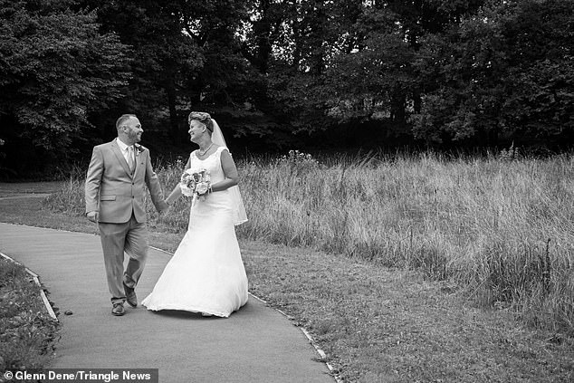 Yet when she reached the end of the aisle in Caerphilly, Wales, she suddenly blacked out before Matthew (pictured with Hayley) reacted quickly to stop his bride falling to the floor