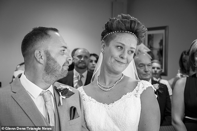 But Hayley (pictured with Matthew) finally found the courage to walk down the aisle in front of 75 guests after battling breast cancer for two years