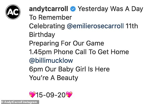 A day to remember: Andy also announced the birth of their child on his Instagram page and revealed she was born on the same day as his 11-year old daughter Emilie Rose