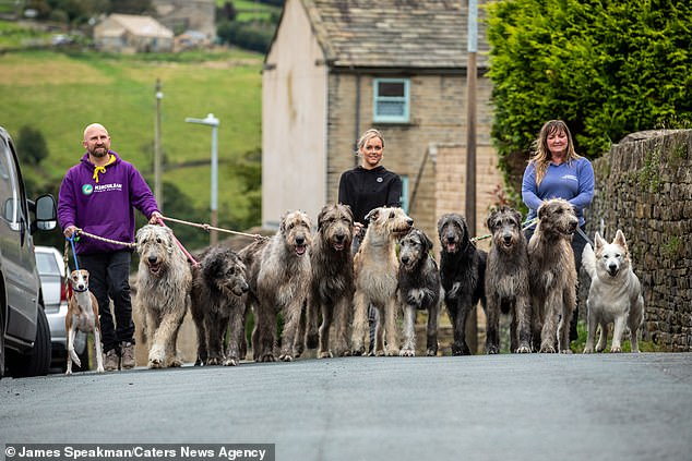 Walking all of their thirteen dogs alone is impossible, so Claire, Jason and their daughter Eve have to join forces (pictured)