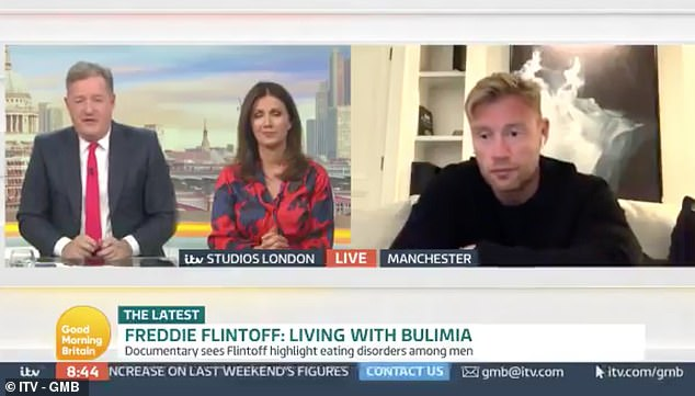 On the documentary, the sports star told Piers Morgan and Susanna Reid (both pictured) he met 'amazing people' who taught him a lot about his own illness, which he still has not had treatment for