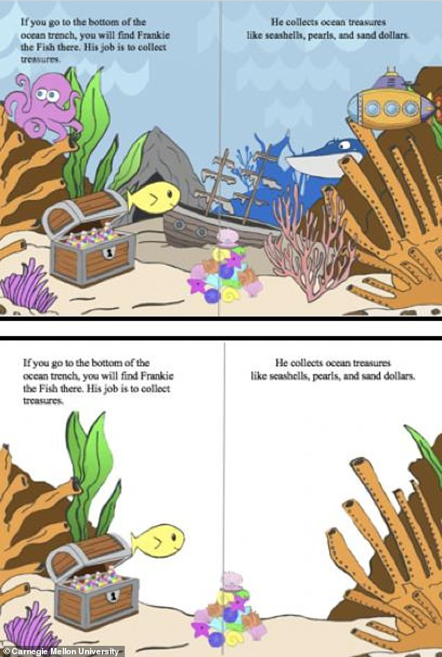 In their study, Dr Fisher and colleagues gave a group of adults a book designed for children's reading practice (pictured, top) and asked them to identify which pictures within were entertaining but not essential to understand the story. These extraneous pictures were then removed from the second half of the book (bottom) before the work was given to 60 US first- and second-grade students — that is, those aged between 6 and 8 — to read