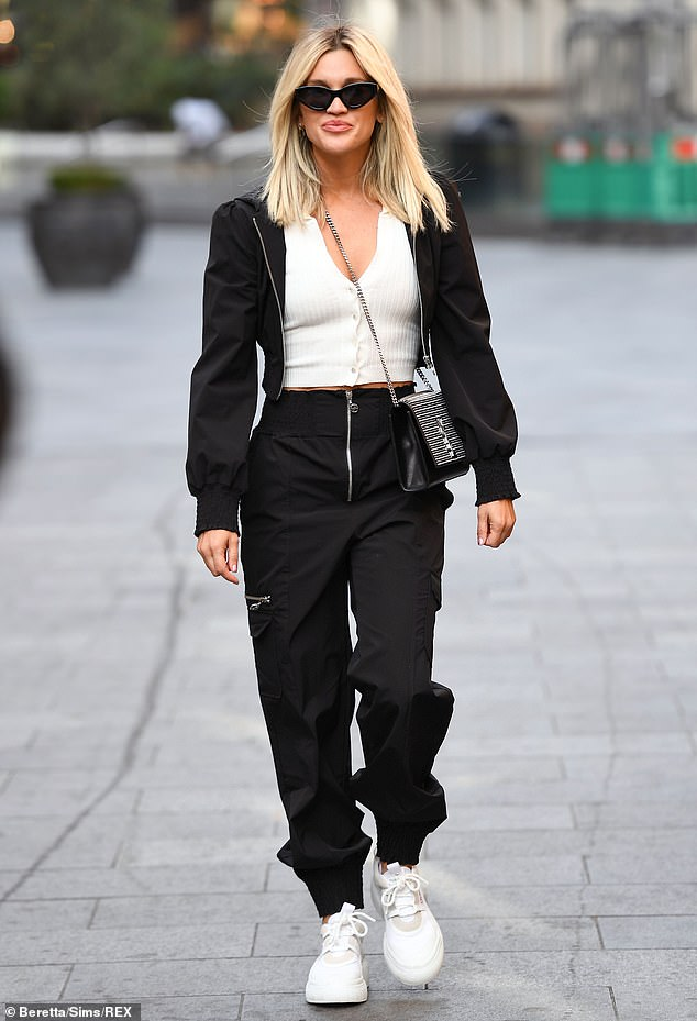 Style:Ashley Roberts looked effortlessly cool in a casual monochrome ensemble as she exited London's Global studios after presenting her Heart FM show on Monday