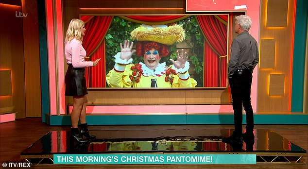 Cheeky! Once the cameras rolled, Holly was in the spotlight again as she left her hysterical co-host Philip Schofiled during a panto segment.