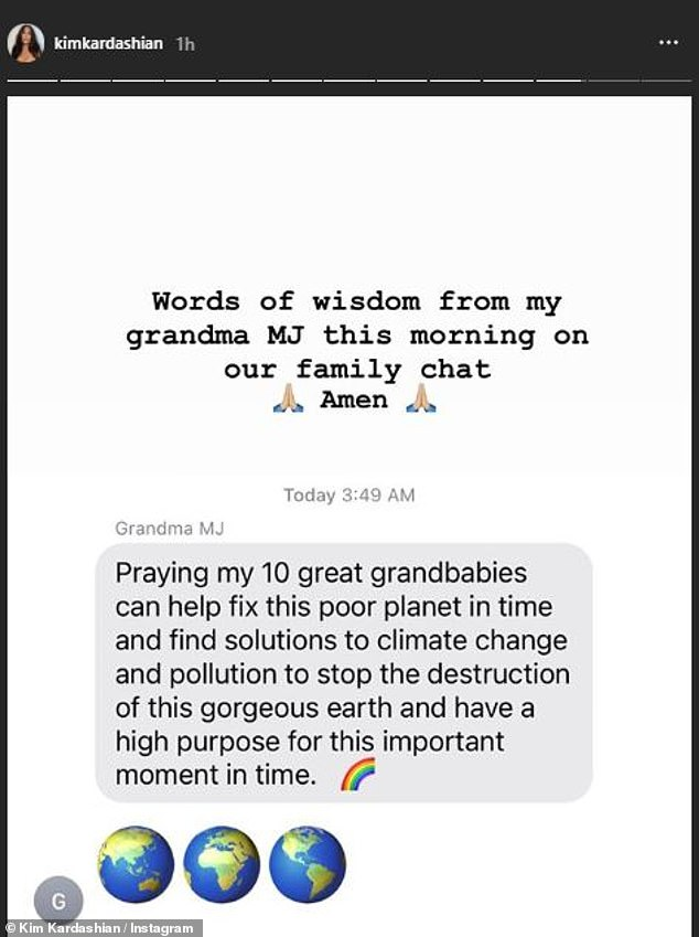Words of wisdom: Kim, 39, revealed this inspiring message from her grandmother MJ on Monday morning which was sent to the family chat