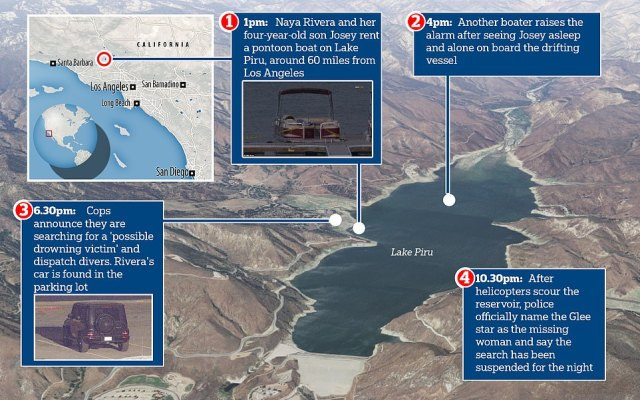 This diagram shows where actress Naya , 33, and her four-year-old son Josey rented a boat on Lake Piru before the young boy was found alone. The map in the top left shows the location of the lake in relation to Los Angeles where Rivera lives