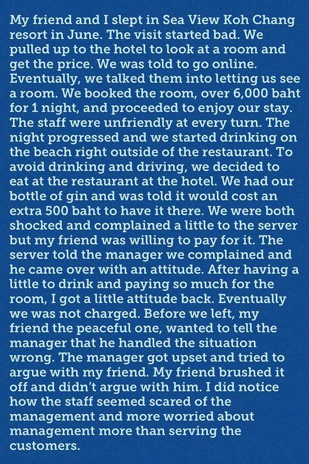 Wesley Barnes' review of the restaurant incident at the Thailand hotel