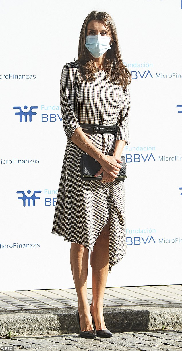 Queen Letizia of Spain, 48, (pictured) attended a meetingwith The BBVA Microfinance Foundation in Madrid