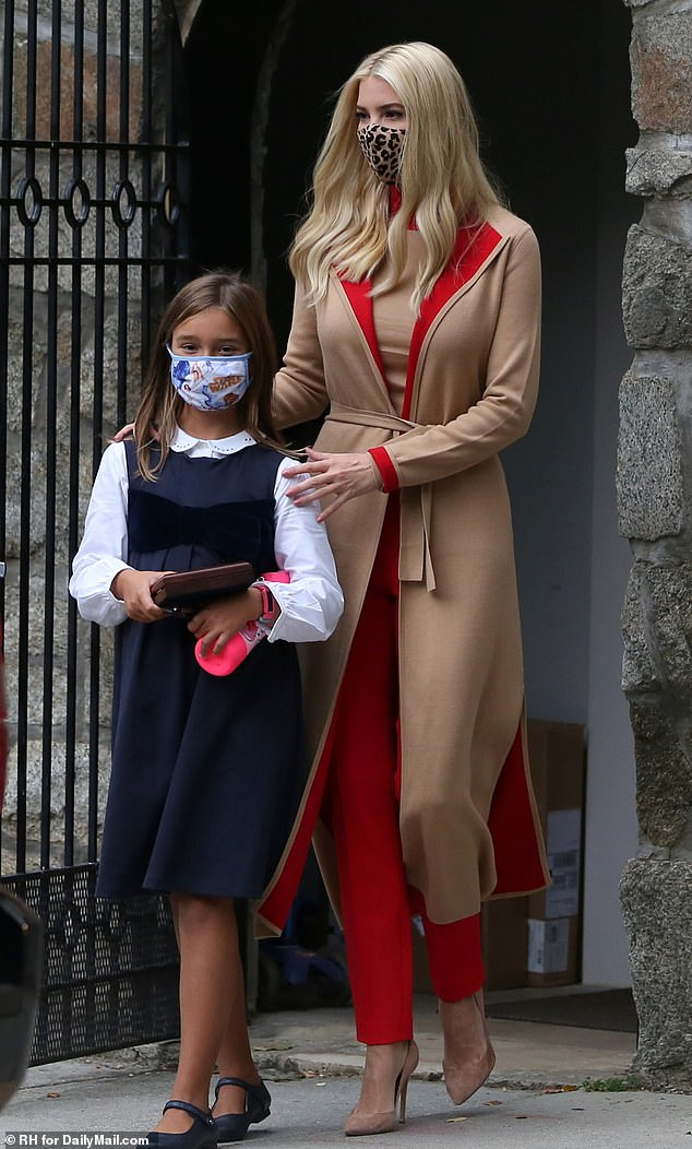 Back to school: Earlier in the day, Ivanka was seen taking her nine-year-old daughter Arabella to school on Thursday morning