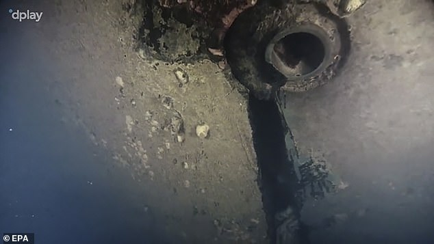 An underwater image taken from the new documentary shows a hole in the hull of the sunken ferry MS Estonia