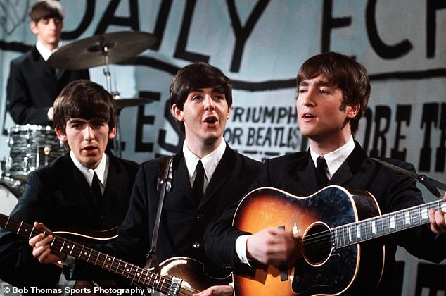 'It really gives me strength': On Tuesday, Sir Paul McCartney admitted he is 'so happy' he reunited with John Lennon shortly before his death (pictured with George Harrison in 1963)
