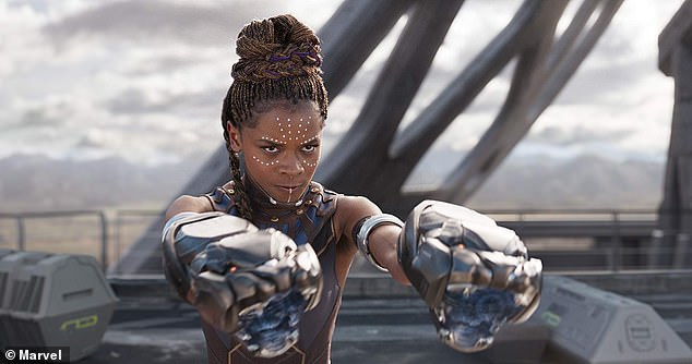 """""""I am spotted at Sainsbury's!  The media personality rose to global prominence as Shuri in the Marvel Cinematic Universe's Black Panther movie (pictured)"""