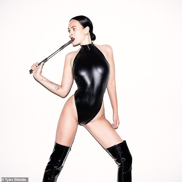 Call her Madam: Rumer previously posted pictures from her collaboration with Tyler Shields last month. She sizzled in bondage and leather outfits