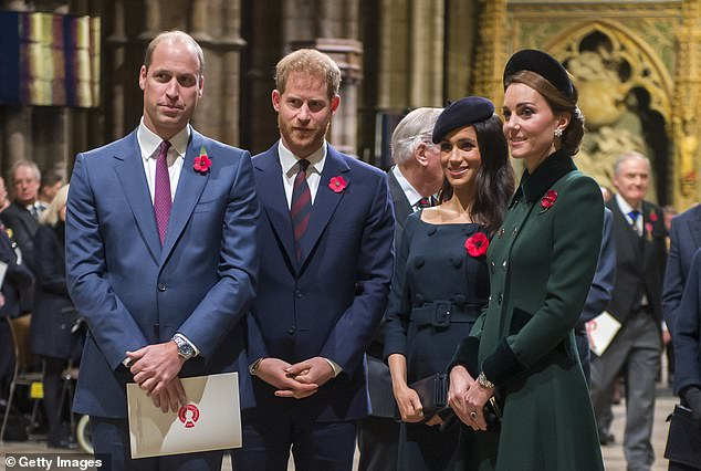Harry and Meghan (pictured with William and Kate last year) yesterday denied reports they were going to make their own flying reality series for the streaming company