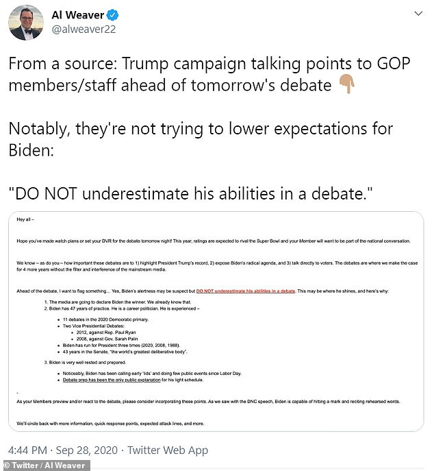 The Hill's Al Weaver obtained a document from the Trump campaign that contained talking points meant for GOP lawmakers and staff