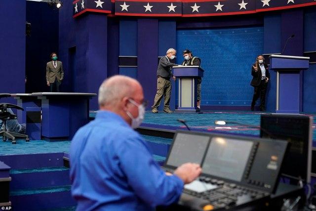 Technicians run tests ahead of Tuesday night's debate.Donald Trump keeps up barrage of demands Joe Biden take a 'drug test' before debate