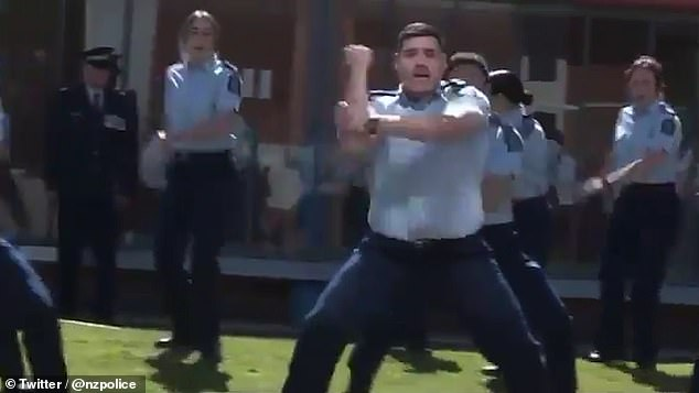 Every new constable at the beginning of their career in the New Zealand police takes part in the haka to the memorial wall atPorirua College (pictured today)
