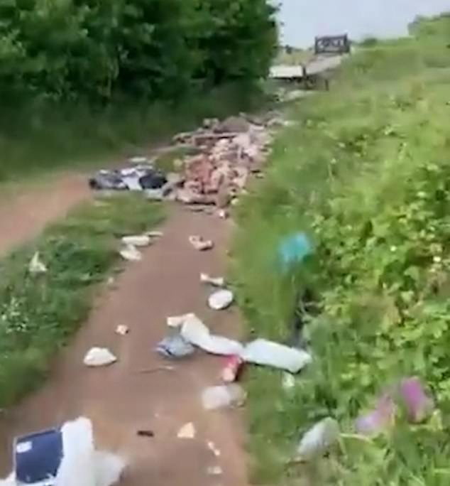 A pedestrian chased a white transit tipper suspected of fly-tipping down a remote pathway strewn with rubbish in Long Sandall, Doncaster