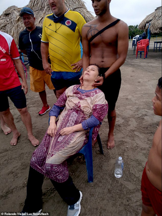Gaitlan is pictured after being brought to shore in Colombia. She was in a weakened state showing signs of hypothermia