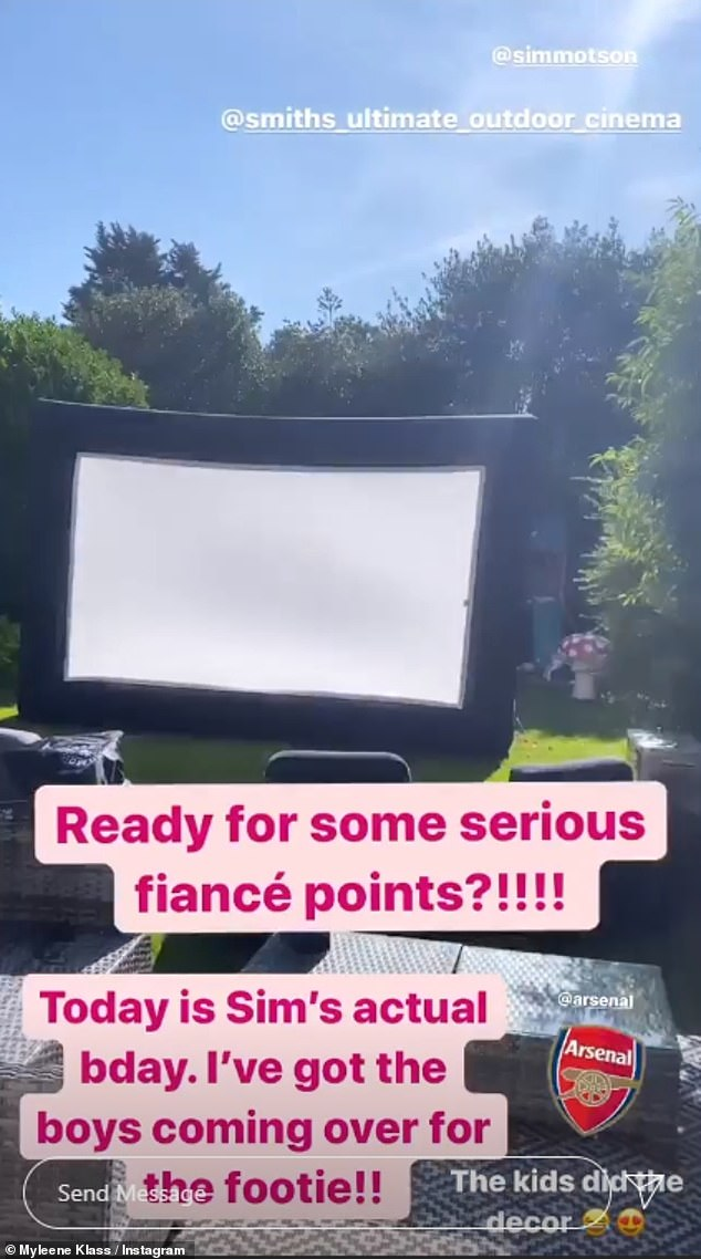 Woman of the match!Myleene Klass treated fiancé Simon Motson to a football night on Monday, inviting his pals around to their house where she had had a giant home cinema screen erected to celebrate his birthday