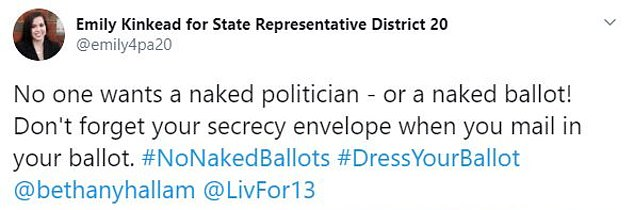 'No one wants a naked politician ¿ or a naked ballot!' tweeted Kinkead