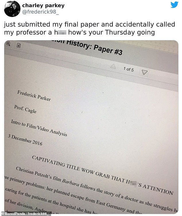 One student noticed after handing their paper that they had called their teacher a h** in their Intro to Film essay's title