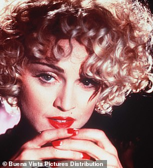 Side profile: Madonna seen in 1990 for the movie Dick Tracy