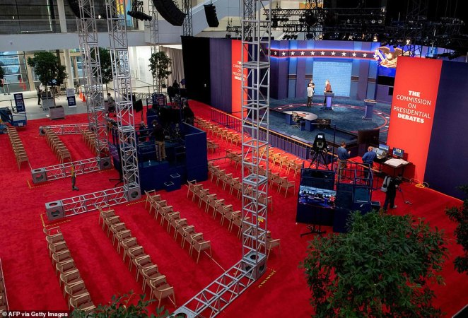 The stage of the first presidential debate is seen at Case Western Reserve University and the Cleveland Clinic on Monday