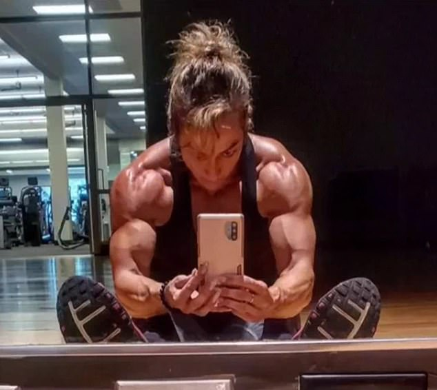 Variety: Delaney's photos show her mom posing and snapping selfies at the gym