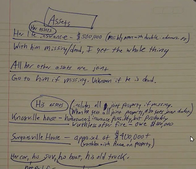 Another page shows details of the ¿assets¿ belonging to Lisa Guy including a $500,000 life insurance policy that lists Guy Jr as a beneficiary