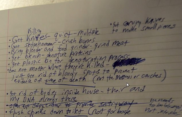 Guy Jr made detailed notes about how he would kill, slaughter and dispose of his parents, and reminded himself to 'bring blender and food grinder - grind meat'
